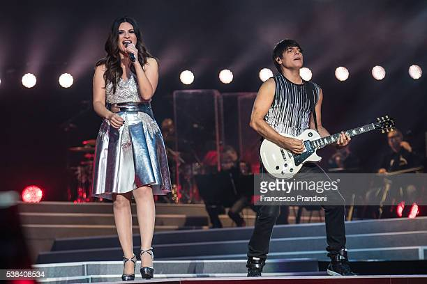 Laura Pausini and Paolo Carta perform In Milan on June 5 2016 in Milan Italy