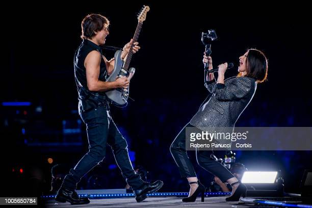 Laura Pausini and Paolo Carta performs on stage at Circus Maximus on July 22 2018 in Rome Italy