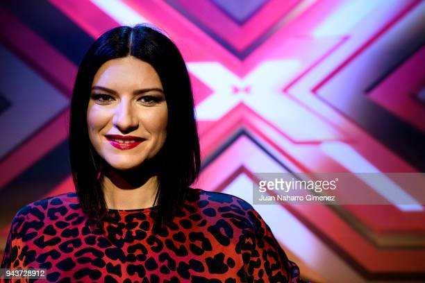 Laura Pausini attends 'Factor X' Tv show presentation at Mediaset on April 9 2018 in Madrid Spain