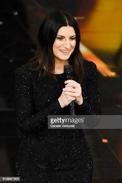 Laura Pausini attends the closing night of the 68 Sanremo Music Festival on February 10 2018 in Sanremo Italy