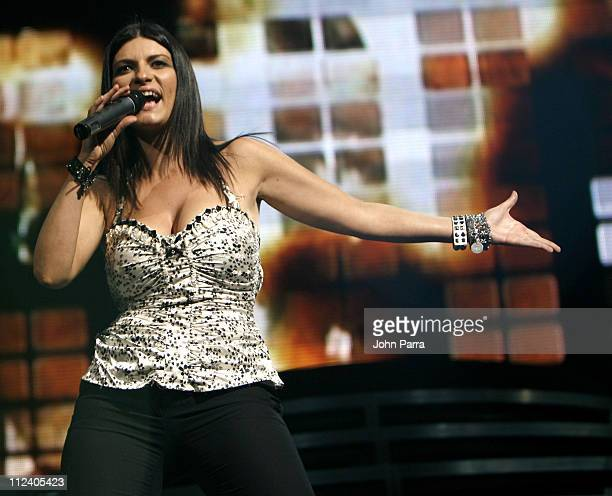 Laura Pausini during Marc Anthony in Concert with Antonio Solis and Laura Pausini at American Airlines Arena in Miami FL United States