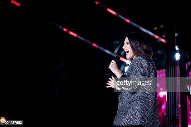 Laura Pausini performing live on stage in Rome at Circus Maximus Rome Italy on 22 July 2018
