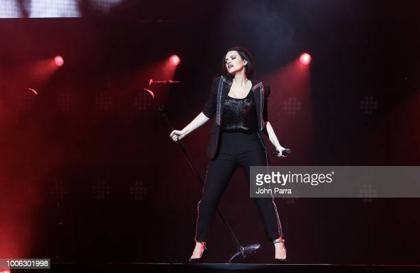 Laura Pausini performs during her World Tour opener at James L Knight Center on July 26 2018 in Miami Florida