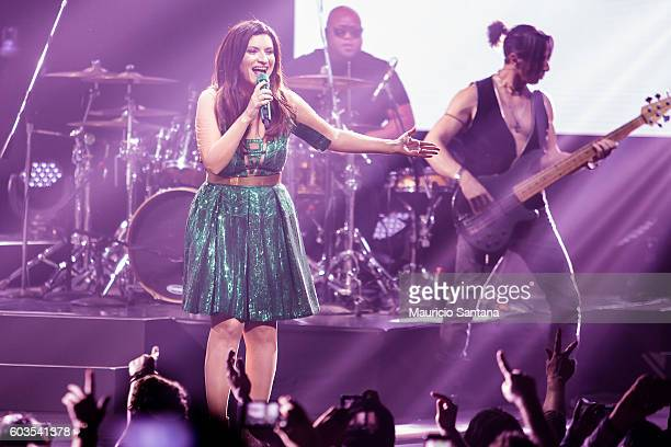 Laura Pausini performs live on stage at Citibank Hall during the tour Simili US and Latam Tour 2016 on September 11 2016 in Sao Paulo Brazil