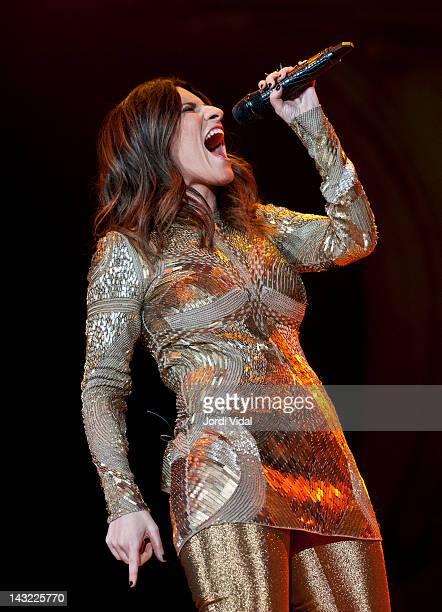 Laura Pausini performs on stage at Palau Sant Jordi on April 21 2012 in Barcelona Spain
