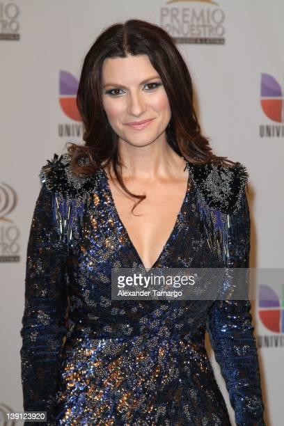 Laura Pausini poses backstage at Univision's Premio Lo Nuestro a La Musica Latina at American Airlines Arena on February 16 2012 in Miami Florida