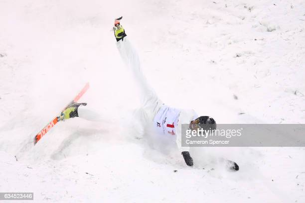 Laura Peel of Australia crashes in the FIS Freestyle Ski World Cup 2016/17 Ladies Aerials final at Bokwang Snow Park on February 10 2017 in...