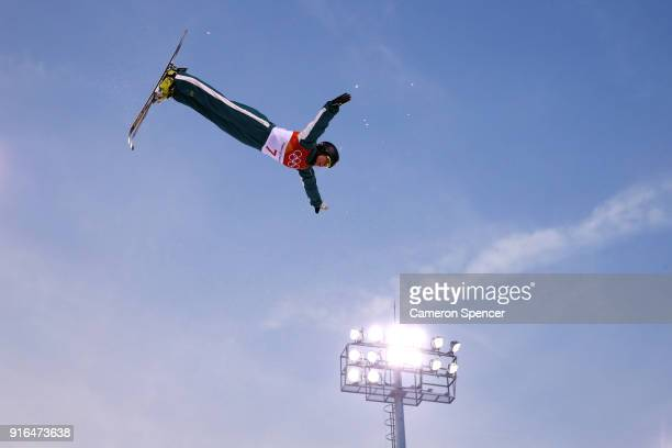 Laura Peel of Australia performs an aerial during Freestyle Skiing training on day one of the PyeongChang 2018 Winter Olympic Games at Phoenix Snow...