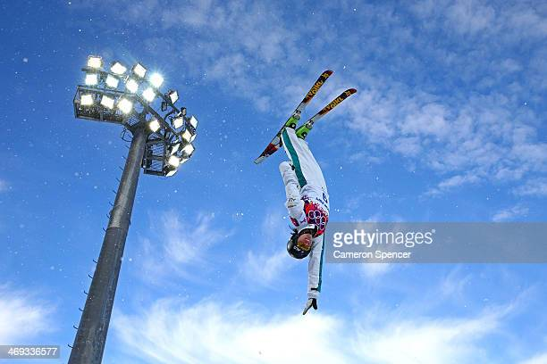 Laura Peel of Australia practices before the Freestyle Skiing Ladies' Aerials Qualification on day seven of the Sochi 2014 Winter Olympics at Rosa...