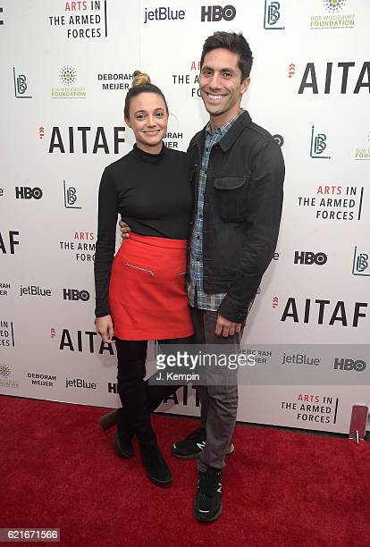 Laura Perlongo and Nev Schulman attend the 8th Annual Arts In The Armed Forces Performance On Broadway at Studio 54 on November 7 2016 in New York...