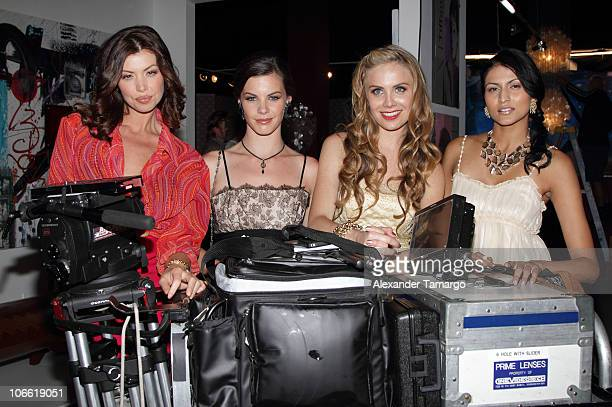 Laura Petersen Haley Webb Alex McKenna and Tinsel Korey pose during the Sobe Real behind the scenes shoot at Avant Gallery on November 7 2010 in...