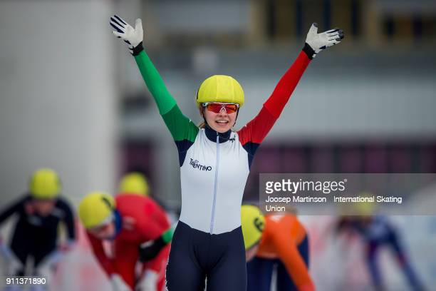 Laura Peveri of Italy celebrates in the Ladies Mass Start during day two of the ISU Junior World Cup Speed Skating at Olympiaworld Ice Rink on...