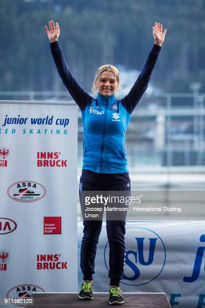 Laura Peveri of Italy celebrates in the Ladies Mass Start medal ceremony during day two of the ISU Junior World Cup Speed Skating at Olympiaworld Ice...