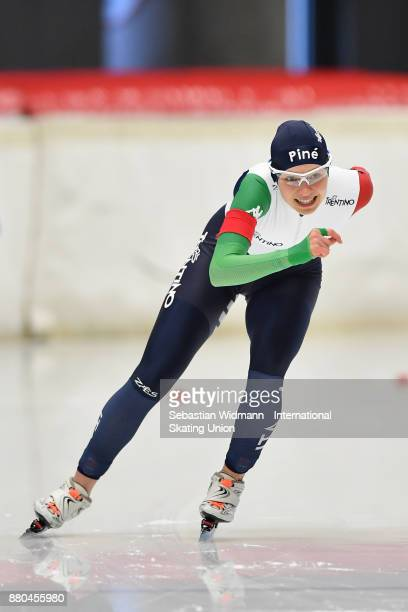 Laura Peveri of Italy performs during the Ladies 500 Meter at the ISU Junior World Cup Speed Skating at Max Aicher Arena on November 26 2017 in...