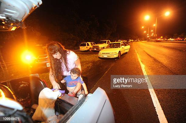 Laura Pickle and her son Marcel Pirkle 2 park along the Pali Highway on the Koolau mountains early March 11 2011 in Kailua in Honolulu County Hawaii...