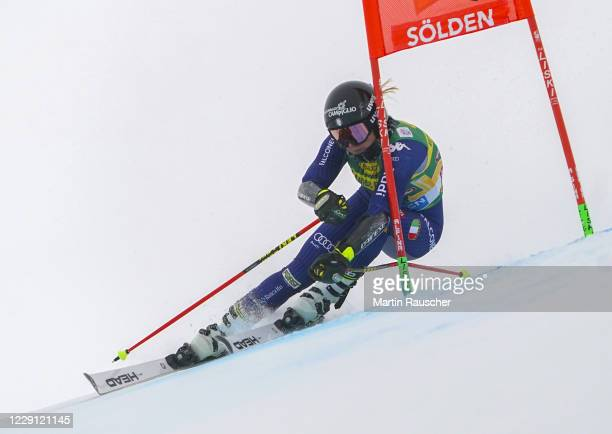 Laura Pirovano of Italy competes during the Women's Giant Slalom of the Audi FIS Alpine Ski World Cup at Rettenbach glacier on October 17, 2020 in...