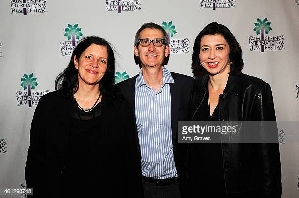 Laura Poitras Ken Jacobson and Dana Harris attend Talking Pictures Citizenfour during the 26th Annual Palm Springs International Film Festival at The...