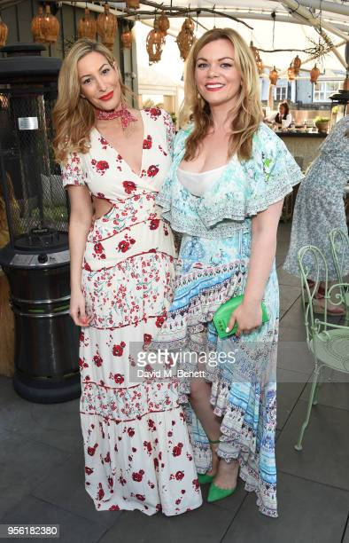 Laura Pradelska and Meredith O'Shaughnessy attend the Royal Ascot Village Enclosure launch party at The Ham Yard Hotel on May 8 2018 in London England