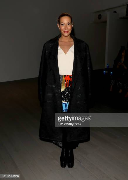 Laura Pradelska attends the Teatum Jones show during London Fashion Week February 2018 at BFC Show Space on February 20, 2018 in London, England.