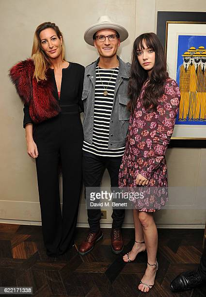 Laura Pradelska Oliver Proudlock and Elizabeth Jane Bishop attend 5 Years of Gazelli SkinCare on November 10 2016 in London England