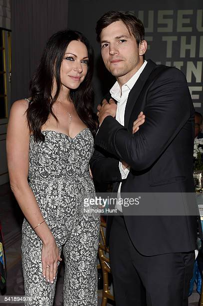 Laura Prepon and Ashton Kutcher attend the Museum of the Moving Image honoring Netflix Chief Content Officer Ted Sarandos and Seth Meyers at St Regis...