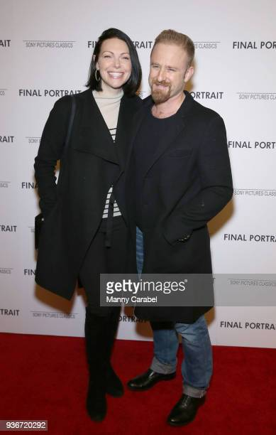 Laura Prepon and Ben Foster attend the 'Final Portrait' New York Screening at Guggenheim Museum on March 22 2018 in New York City