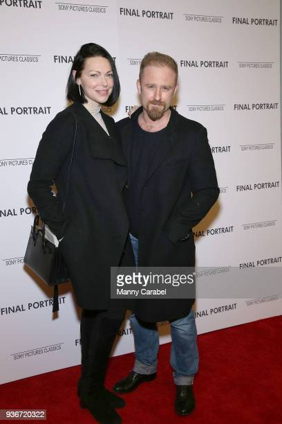 """Laura Prepon and Ben Foster attend the """"Final Portrait"""" New York Screening at Guggenheim Museum on March 22, 2018 in New York City."""
