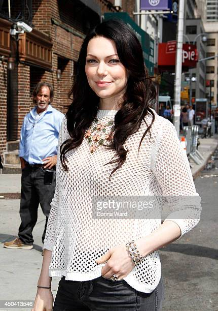 Laura Prepon arrives for the Late Show with David Letterman at Ed Sullivan Theater on June 10 2014 in New York City