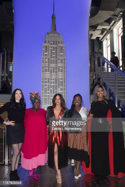 Laura Prepon Danielle Brooks Dascha Polanco Uzo Aduba and Laverne Cox of Orange Is The New Black at the Empire State Building on July 26 2019 in New...