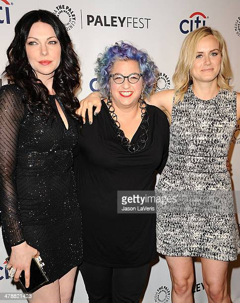 Laura Prepon Jenji Kohan and Taylor Schilling attend the Orange Is The New Black event at the 2014 PaleyFest at Dolby Theatre on March 14 2014 in...