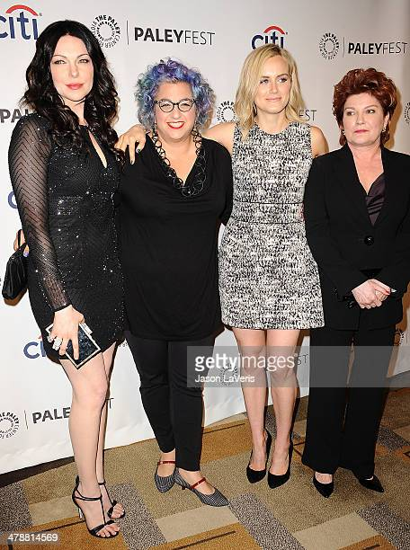 """Laura Prepon, Jenji Kohan, Taylor Schilling and Kate Mulgrew attend the """"Orange Is The New Black"""" event at the 2014 PaleyFest at Dolby Theatre on..."""