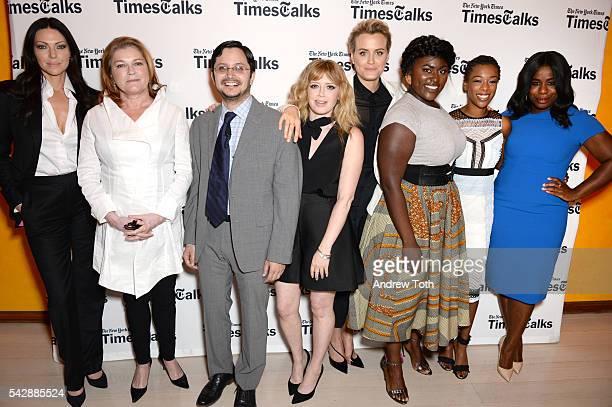 Laura Prepon, Kate Mulgrew, Dave Itzkoff, Natasha Lyonne, Taylor Schilling, Danielle Brooks, Samira Wiley and Uzo Aduba attend TimesTalks Presents:...