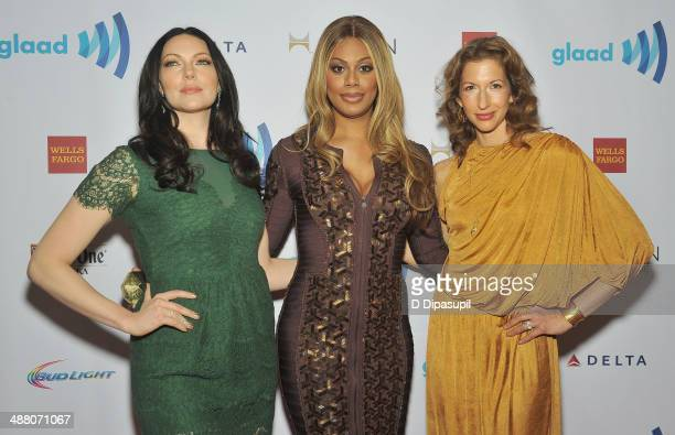 Laura Prepon Laverne Cox and Alysia Reiner attend the 25th Annual GLAAD Media Awards In New York on May 3 2014 in New York City