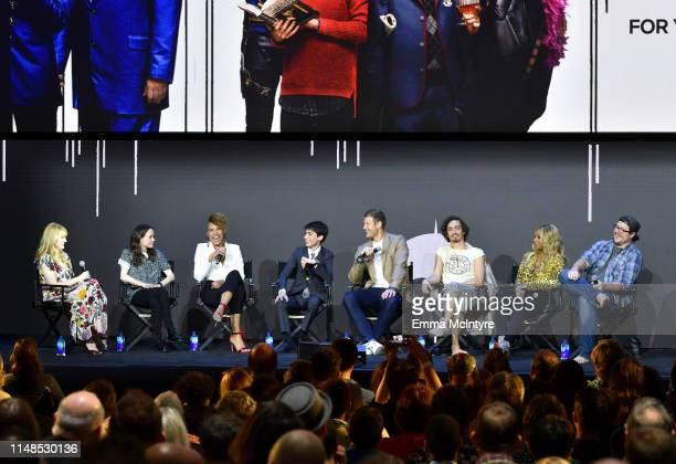 Laura Prudom Ellen Page Emmy RaverLampman Aidan Gallagher Tom Hopper Robert Sheehan Mary J Blige and Cameron Britton speak onstage at Netflix's...