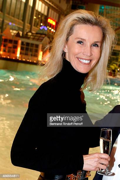 Laura Restelli attends the 1st wedding anniversary of actress Cyrielle Clair and businessman Michel Corbiere at the Aquaboulevard sports complex on...
