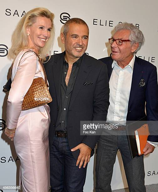 Laura Restelli Brizard Elie Saab and Jean Daniel Lorieux attend the Elie Saab show as part of the Paris Fashion Week Womenswear Spring/Summer 2015 on...