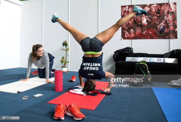 Laura Robson and Heather Watson stretch during a Great Britain Fed Cup training session at Tenis Club IDU on April 21 2017 in Constanta Romania