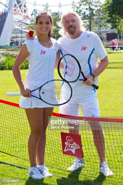 Laura Robson and Sir Richard Branson attend a photocall to celebrate the start of the Wimbledon championships with Virgin Active at London Eye on...