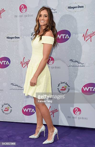 Laura Robson arrives for the WTA PreWimbledon Party at Kensington Roof Gardens on June 23 2016 in London England
