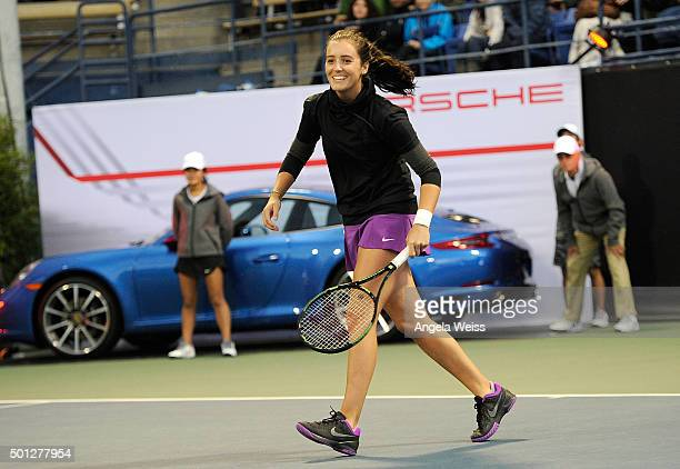 Laura Robson at the Maria Sharapova and Friends tennis event presented by Porsche on December 13 2015 in Los Angeles California