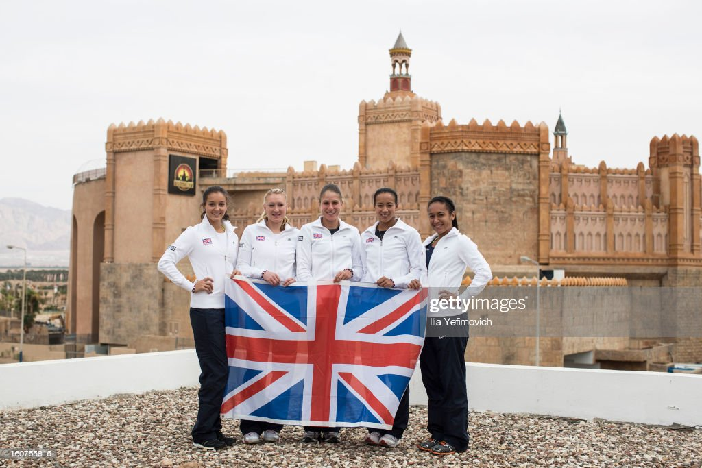 Laura Robson, Elena Baltacha, Johanna Konta, Anne Keothavong and Heather Watson of Great Britain Fed Cup Team 1. pose for a photoshoot at the Sport Hotel ahead of the Fed Cup Group B matches in the Euro/Africa Zone Group 1 at Municipal Tennis Club on February 5, 2013 in Eilat, Israel.