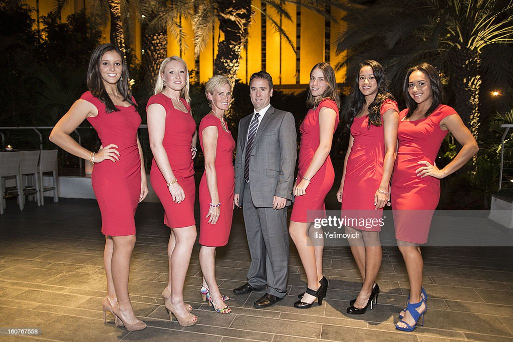 Laura Robson, Elena Baltacha, Judy Murray, Iain Bates, Johanna Konta, Anne Keothavong and Heather Watson of Great Britain attend an official team dinner ahead of the Fed Cup Group B matches in the Euro/Africa Zone Group 1 at the Sport Hotel on February 5, 2013 in Eilat, Israel.