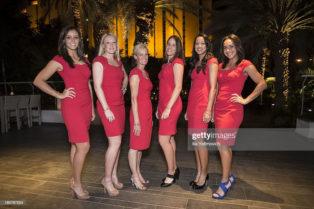 Laura Robson, Elena Baltacha, Judy Murray, Johanna Konta, Anne Keothavong and Heather Watson of Great Britain posing for a picture before the official team dinner ahead of the Fed Cup Group B matches in the Euro/Africa Zone Group 1 at the Sport Hotel on February 5, 2013 in Eilat, Israel.