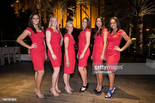Laura Robson, Elena Baltacha, Judy Murray, Johanna Konta, Anne Keothavong and Heather Watson of Great Britain posing for a picture before the...
