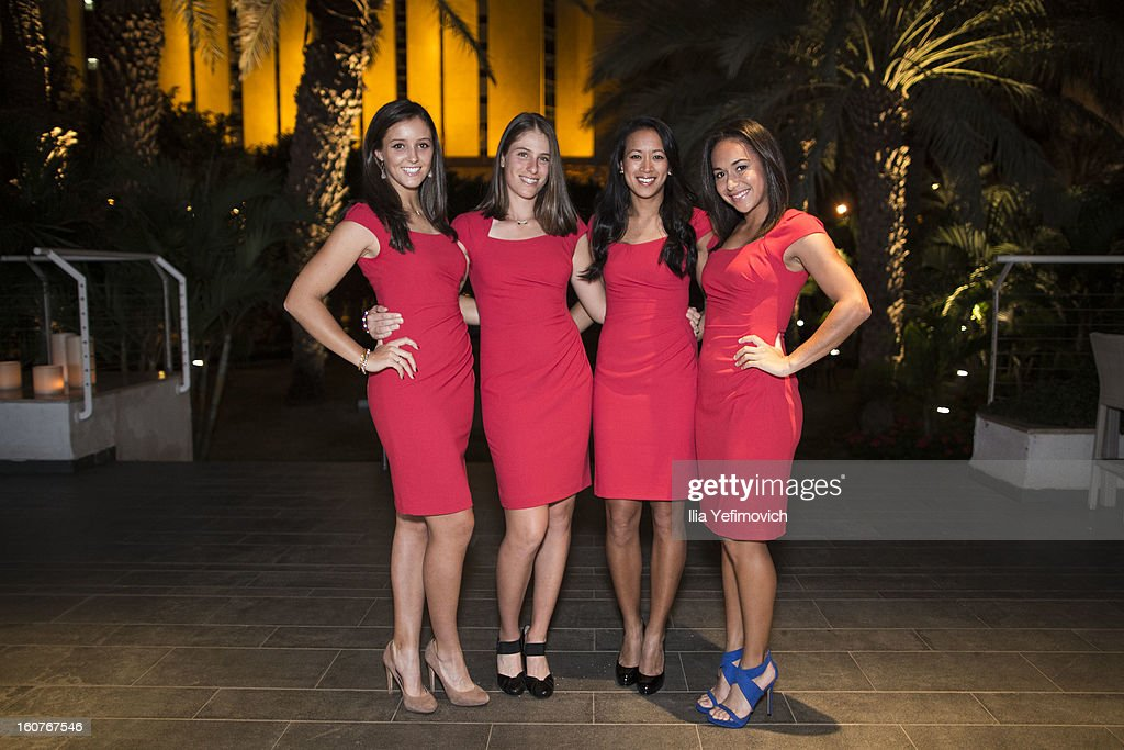 Laura Robson, Johanna Konta, Anne Keothavong and Heather Watson of Great Britain posing for a picture before the official team dinner ahead of the Fed Cup Group B matches in the Euro/Africa Zone Group 1 at the Sport Hotel on February 5, 2013 in Eilat, Israel.