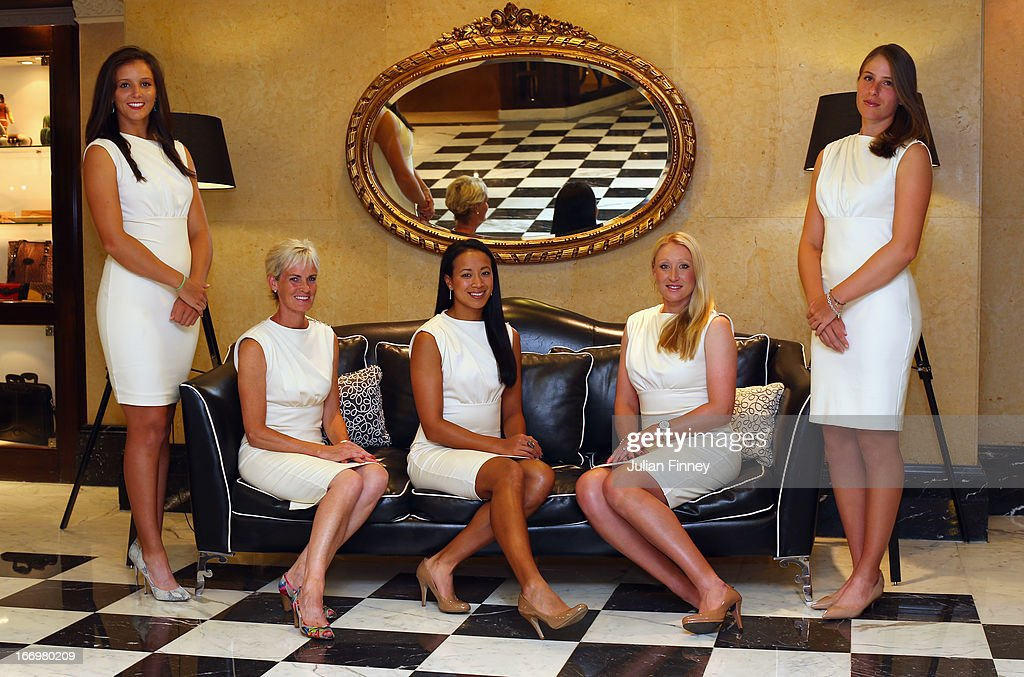 Laura Robson, Judy Murray, captain of Great Britain, Anne Keothavong, Elena Baltacha and Johanna Konta of Great Britain pose for a team photo at the Pan Americano Hotel during previews ahead of the Fed Cup World Group Two Play-Offs between Argentina and Great Britain at Parque Roca on April 18, 2013 in Buenos Aires, Argentina.