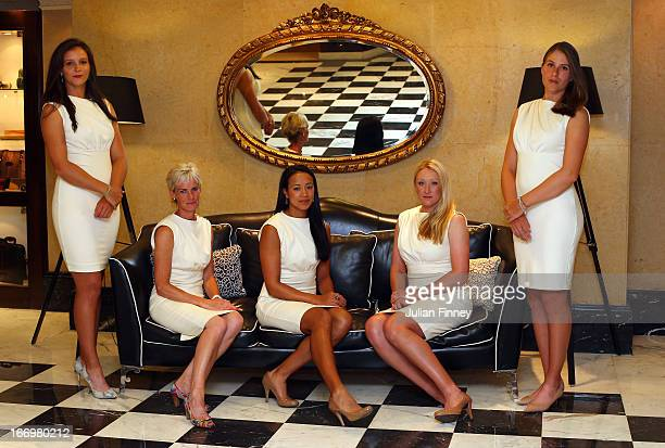 Laura Robson, Judy Murray, captain of Great Britain, Anne Keothavong, Elena Baltacha and Johanna Konta of Great Britain pose for a team photo at the...