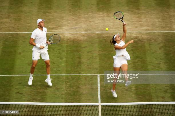 Laura Robson of Great Britain and Dominic Inglot of Great Britain in action during the Mixed Doubles first round match against Andre Begemann of...