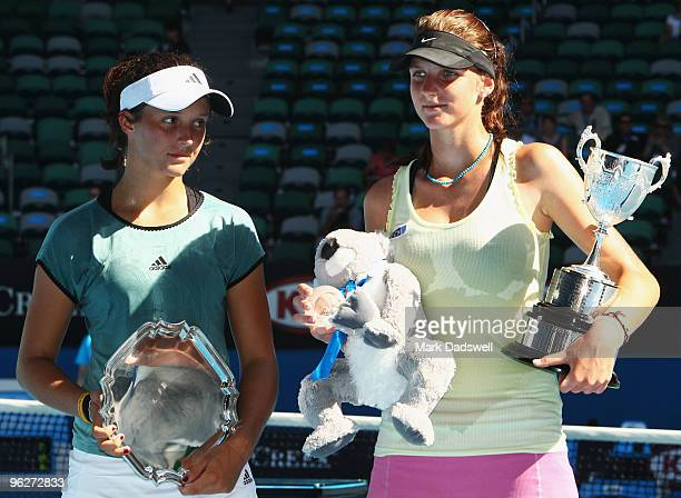 Laura Robson of Great Britain and Karolina Pliskova of the Czech Republic pose with their trophies after the junior girls' singles final match during...