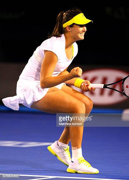 Laura Robson of Great Britain celebrates on match point at the Australian Open, 2013
